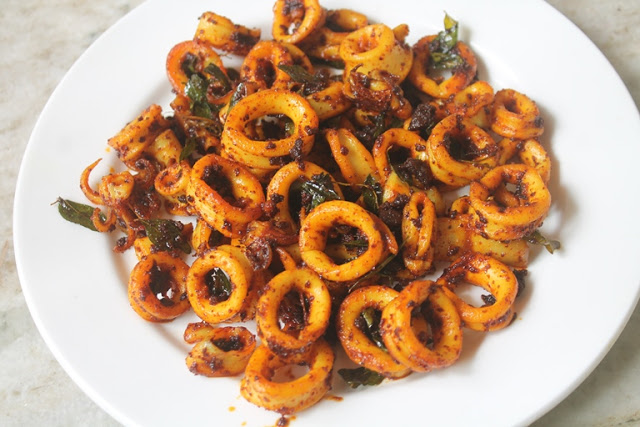 Squid Fry Recipe – Kanava Fry Recipe – Squid Masala Fry Recipe