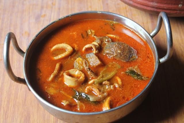Village Style Squid Curry Recipe – Kerala Style Kanava Kuzhambu Recipe