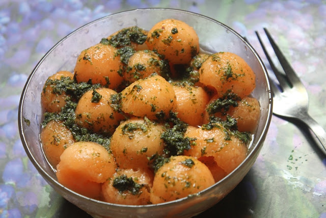 Melon Ball Salad with Mint, Lemon & Ginger Dressing