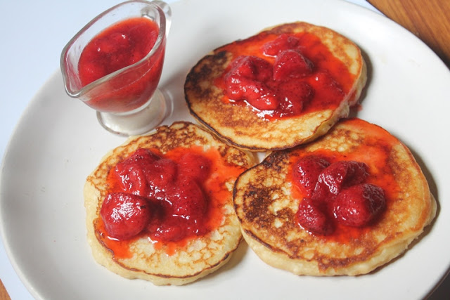 Nigella Lawson's Ricotta Hotcakes Recipe – Ricotta Pancakes with Strawberry Sauce