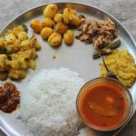 Lunch Menu 16 – Puli Kuzhambu, Dal, Dumstick Avial, Baby Potato Poriyal, Tapioca Kootu