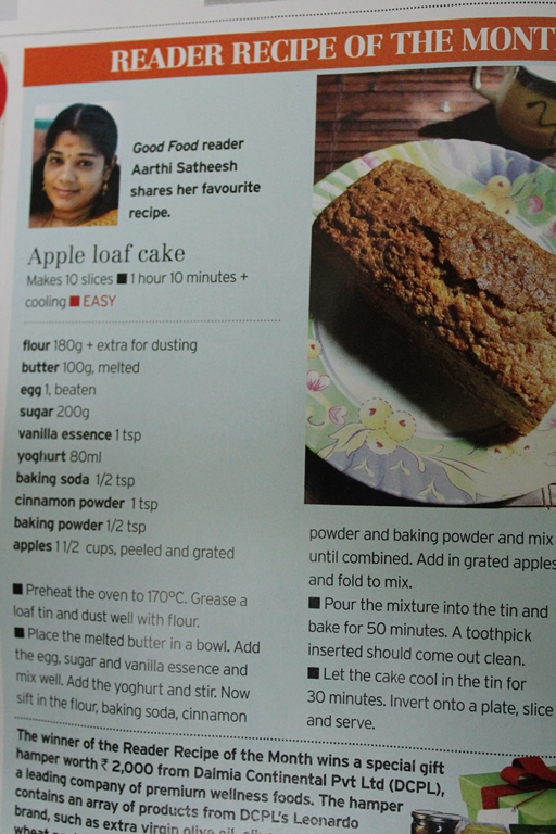 Yummy tummy aarthi on media 2 apple loaf cake recipe is featured in bbc good food magazine september 2013 issue forumfinder Image collections