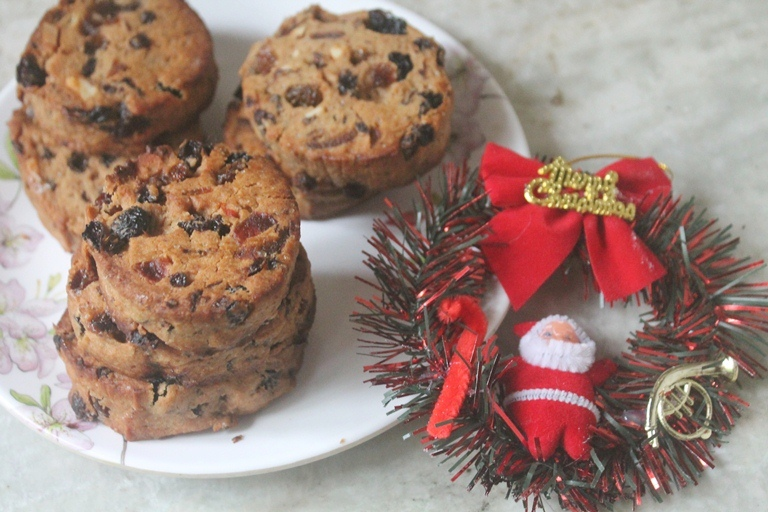 Eggless Fruit Cake Cookies Recipe