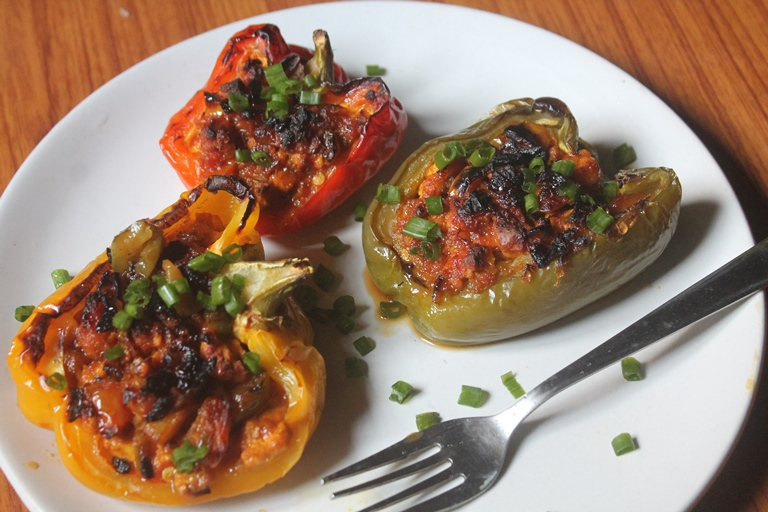 Stuffed Peppers Recipe – Paneer Stuffed Capsicum Recipe