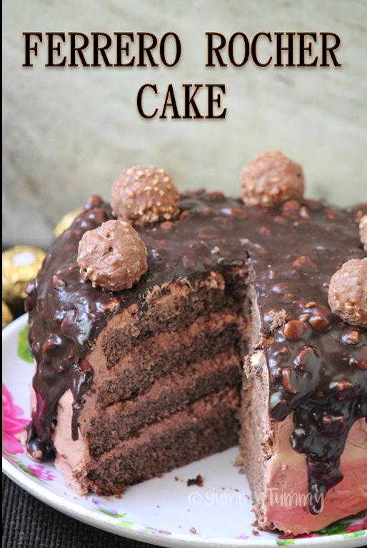 Ferrero Rocher Cake Recipe - Chocolate Hazelnut Cake Recipe