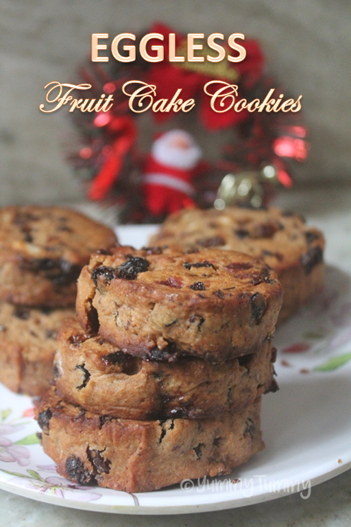 Eggless Fruit Cake Cookies Recipe