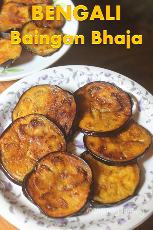 Bengali baingan bhaja recipe pan fried eggplant slices recipe baingan bhaja is a bengali recipe it is usually serve for lunch with rice and some dal and i tried that combo it was delicious forumfinder Image collections