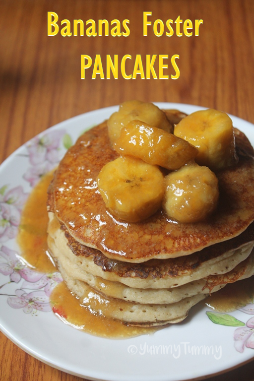 Eggless Whole Wheat Pancakes Bananas Foster Sauce