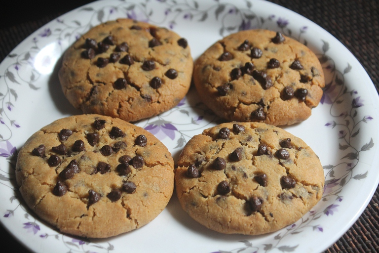 Eggless Chewy Chocolate Chip Cookies Recipe With Step Wise Pictures