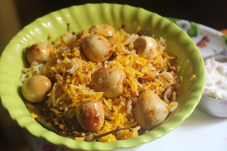 Quail Egg Dum Biryani – Kaada Mutta Biryani Recipe