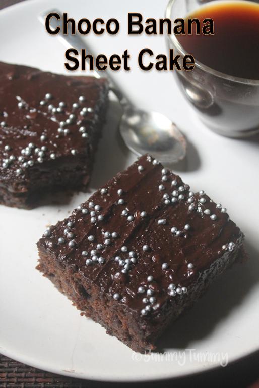 Eggless Chocolate Banana Sheet Cake Recipe