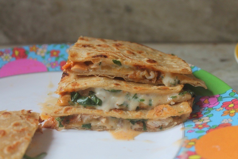 Cheesy Chicken & Spinach Quesadilla Recipe