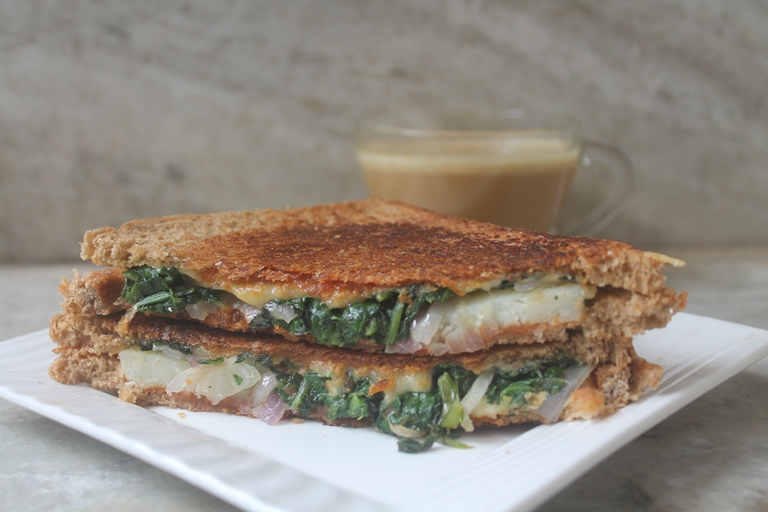 Spinach, Potato & Cheese Sandwich Recipe