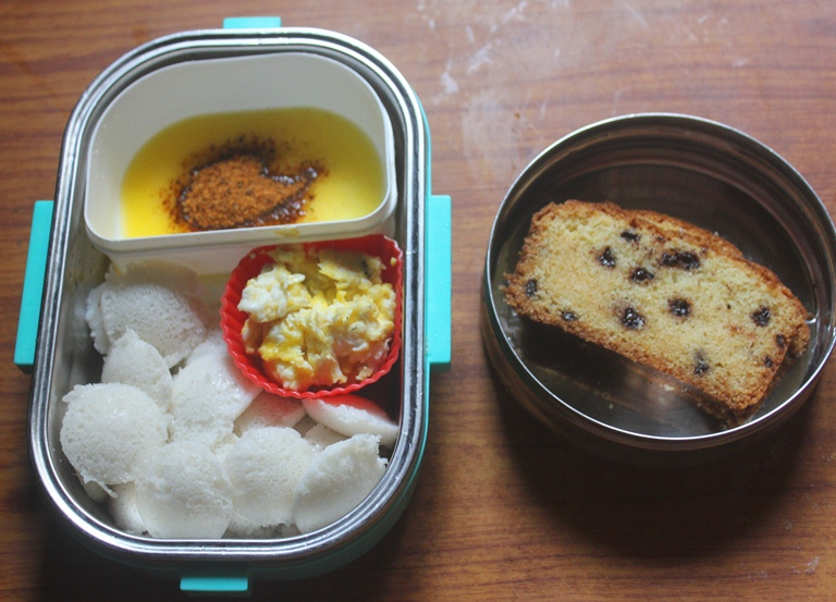Mini Idli, Scrambled Eggs & Chocolate Chip Cake – Kids Lunch Box Ideas 22