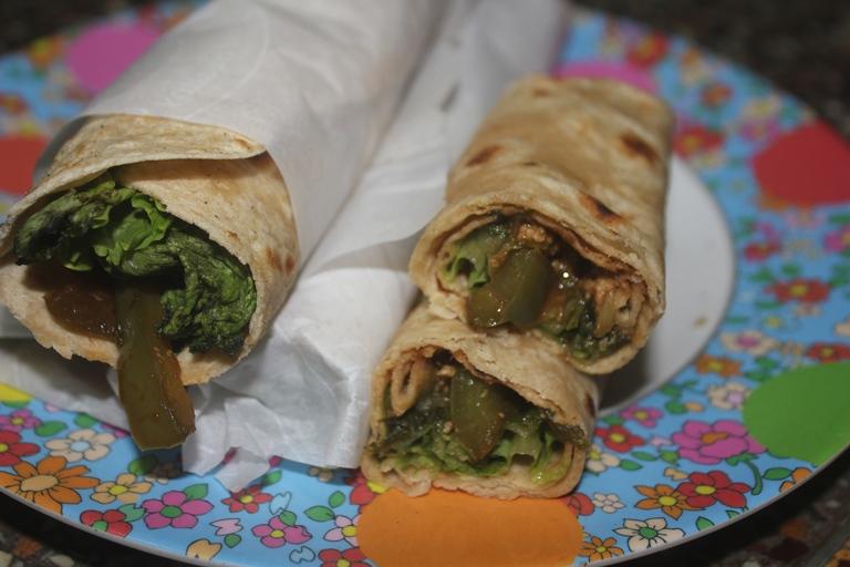 Lettuce Veggie Chapati Wrap Recipe